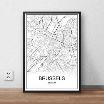BRUSSELS Belgium City Street Map Print Poster Abstract Coated Paper Bar Cafe Pub Living Room Home Decor Wall Sticker 42x30cm