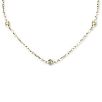 Silver bezel strand necklace
