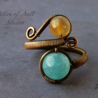 Wire jewelry / wire wrapped jewelry handmade / aqua and brown agate gemstone / Wire Wrapped Ring / copper jewelry / boho jewelry / rustic