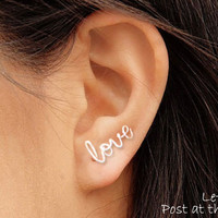 Love Earring, Sterling Silver or Gold Filled, Cartilage Earring - CUSTOM names - FREE toe ring with order