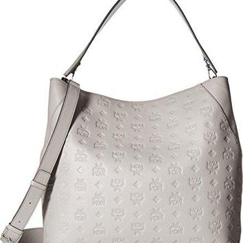 MCM Womens Klara Monogrammed Leather Large Hobo