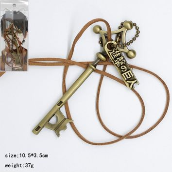 Cool Attack on Titan  cosplay pendant necklace Eren Jager password key fashion personality men women Gargantilla Jewelry Accessories AT_90_11