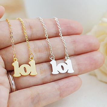 Mini LOL Charm Necklace Christmas Gift for her, Minimalist, mod modern style charm necklace