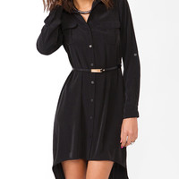 Belted Satin Shirtdress