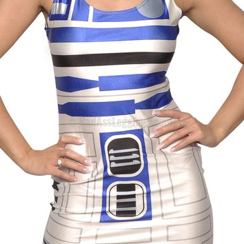 R2D2 Above Knee Sleeveless Mini-Dress Design 3011