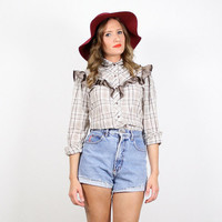 Vintage Western Shirt Cowboy Shirt Cowgirl Shirt Ruffle Plaid Western Shirt Prairie Rockabilly Bouse Top Tan Beige Natural Brown S Small