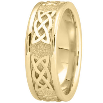 Wedding Band - Celtic Mens Wedding Ring in Yellow Gold