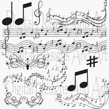 Music clipart, notes clip art, Digital Clipart Musical Accenq,Invitation Clipart Design Elements, Instant Download, Printable Paper Products