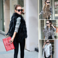 Women Real Knitted Rabbit Fur Vest Gilet With Raccoon Fur Collar Waistcoat Winter 6 Colors S M L XL XXL = 1931949572