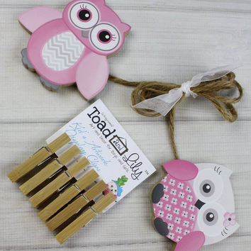 Pink and Gray Owls Wooden Girls Wall Art DISPLAY CLIPS for Kids Bedroom Baby Nursery Playroom AC0008