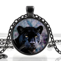 Black Panther Jewelry - Panther Necklace - Panther Cat Pendant - Animal Picture Jewelry Gifts for Birthdays