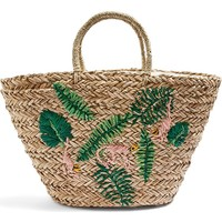 Topshop Barrio Monkey Embroidered Straw Tote Bag | Nordstrom