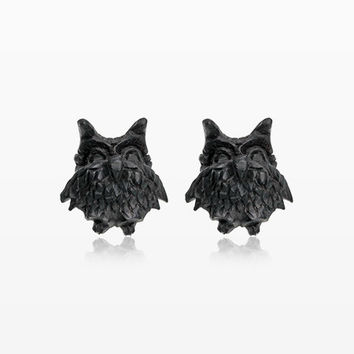 A Pair of Hootie Owl Handcarved Wood Earring Stud
