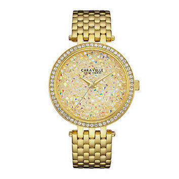 Ladies' Caravelle New York™ Crystal Accent Gold-Tone Watch with Multi-Color Mosaic Dial (Model: 44L184) - Save on Select Styles - Zales