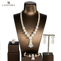 LANFLORA new luxury pearl zircon bride jewelry sets for bridal necklace wedding cubic zirconia jewelry sets four pieces