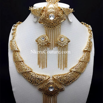 18K Gold Plated Nigerian Wedding African Beads Jewelry Set Crystal Saudi Jewelry Sets ZX229