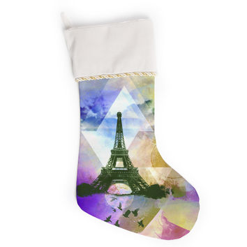 "AlyZen Moonshadow ""EIFFEL TOWER (PURPLE)"" Yellow Travel Christmas Stocking"