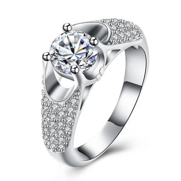 Silver Color Austrian Crystal Ring For Women