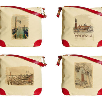 Women Venice, Italy Print Canvas Leather Trap Tote Shoulder Bag WAS_33
