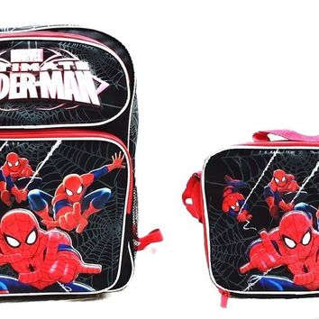 "Marvel Ultimate Spiderman Boys 16"" Canvas Black School Backpack w/Lunch Bag"