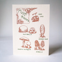 Antique Letterpress Card Mushroom Guide