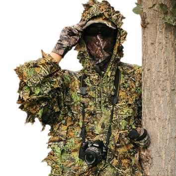 Hunting Tactical Military Gear Men's Sniper Tree Camo Camouflage Foliage Suit Forest Clothes Jacket with Pants
