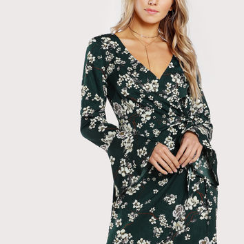 Bell Sleeve Surplice Wrap Floral Dress | MakeMeChic.COM