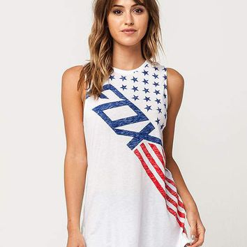 FOX Red White And True Womens Muscle Tank | Graphic Tees