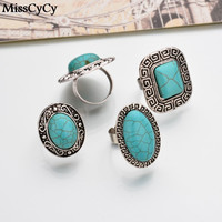 MissCyCy 4 Shape Square Round Oval Heart Turquoise Stone Antique Silver Plated Jewelry Bohemia Rings For Women