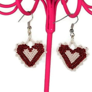 Brick Stitch Beaded Red and White Lacy Heart Earrings