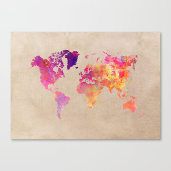 world map 93 #worldmap #map #world Canvas Print by jbjart