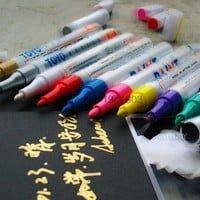 10pcs/set 2.5mm Metal pen paint pen doodle pen mark pen photo album Scrapbook DIY 10 colors Writing dry ceramic glass black card