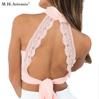 M.H.Artemis 3Colors High Neck Elegant Lace Tank Top Women Sexy Boho Backless Halter Tops Summer Chiffon Crop Tops Retro Ladies