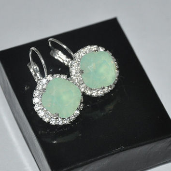 Mint Opal Earrings, Swarovski Crystals, Square Stone, rhinestone earrings, Silver earrings, leverbacks, Mint Green, Green Opal, Dangle