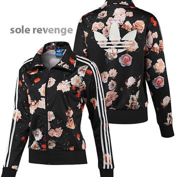 NEW adidas Originals Women's FIREBIRD ROSES TRACK Jacket Flowers F78292 Black