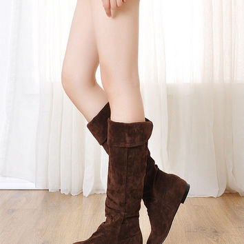 Flock Height Increasing Flat Tall Boots 3422