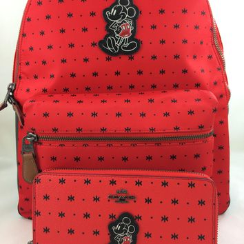 New Authentic Coach F59358 Mickey Charlie Backpack Shoulder Bag Bandana Red Nylon+ Wal
