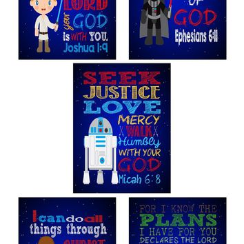 Star Wars Christian Nursery Art Decor Print Set of 5 - Luke Skywalker, Yoda, Darth Vader, Chewbacca - Bible Verse, Playroom or Kid's Room