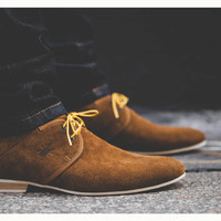 Camel brown men's leather shoes, made in France by hand / City shoes / Casual, smart, trendy, lifestyle, menswear