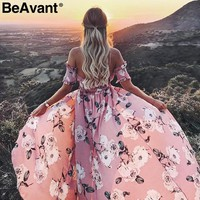 BeAvant Strapless summer style long dress Women high split elastic floral maxi dress Elegant chiffon boho causal dress vestidos