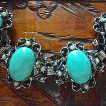 Turquoise Victorian Revival Chunky Bracelet, Ornate Setting, Faux Pearls, Vintage