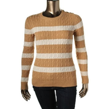 Charter Club Womens Cable Knit Striped Pullover Sweater