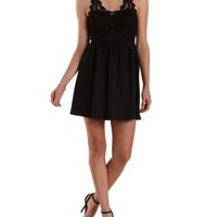 Black Embroidered Mesh Skater Dress by Charlotte Russe