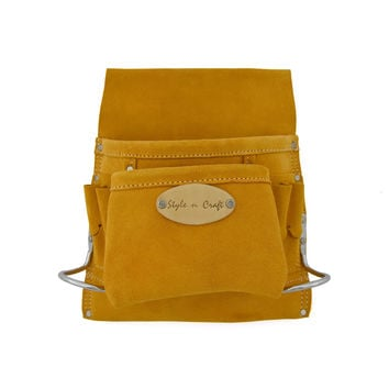 91823 - 8 Pocket Nail and Tool Pouch in Heavy Duty Suede Leather
