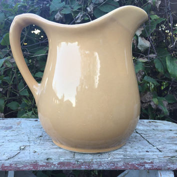 Vintage beige Stoneware crock water pitcher, vintage pottery carafe, floral arrangement vase,  summertime entertaining, retro crock pitcher