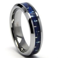 Tungsten and Blue Carbon Fiber Ring | Overstock.com