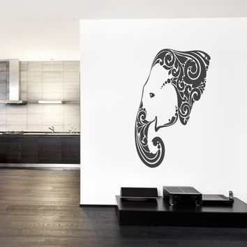 ik271 Wall Decal Sticker Decor elephant floral ornament India pet animal