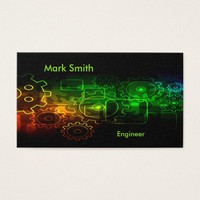 Cogwheels mechanics on black, neon green orange business card