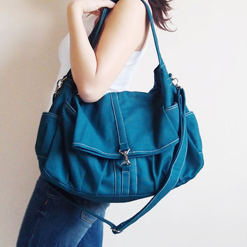 Father Day Sale  Dark Teal Canvas Women Shoulder Bag by Kinies
