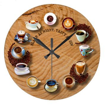 Cups Of Black Coffee With Beans As A Clock